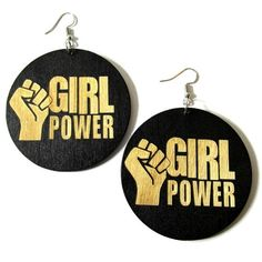 Check out this item in my Etsy shop https://www.etsy.com/listing/587222527/girl-power-fist-black-wood-circle-dangle