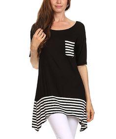 Another great find on #zulily! Black Stripe Tunic - Women #zulilyfinds