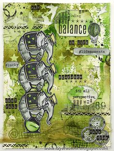 Layers of ink - Balancing Elephants Journal Page by Anna-Karin. Made for Simon Says Stamp Monday Challenge using stamps, stencils, ink and mist by Tim Holtz and Ranger.