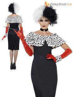 Ladies Cruella Deville Costume Black White WIG Ladies Fancy Dress ...