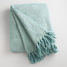 A chic accent and cuddly couch companion in one, our contemporary chenille throw features a light-blue-on-natural geo pattern bordered in ultra-soft fringe. Teal Throw Blanket, Light Blue Throw Pillows, Blue Throws, Throw Blankets, Chenille Blanket, Blue Couches, Couch Set, Spring Home, Shades Of Blue