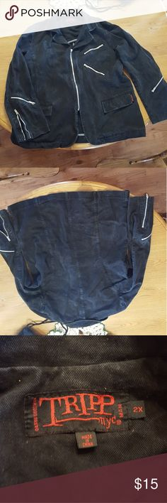 Tripp Distressed Black Denim Jacket Good condition distressed denim jacket made by Tripp. Originally purchased at Hot Topic. Men's 2x. Moto style with several zipper accents on sleeves and front. Main zipper still works but pull tab is missing. Good DIY project for someone! Smoke free home. Offers and bundles welcome! Tripp nyc Jackets & Coats