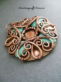Beautiful intricate wirework pendant with caged beads - cool