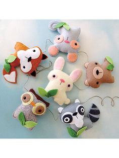 Sewing - Felt Woodland Animal Set - #RES0349 ~ stitch them by hand (whip stitch) ~ string them together to make a garland in child's room or make them into a mobile for baby's room ~ beginner level ~ SEWING