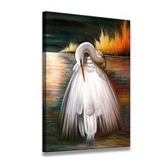 Home Decor Canvas Wall Art White Egret Canvas Print at size inch in Oil Painting Style for Home Decoration -- Check out this great product. Artwork Prints, Painting Prints, Poster Prints, Canvas Paintings, White Egret, High Definition Pictures, Canvas Wall Art, Canvas Prints, Carton Box