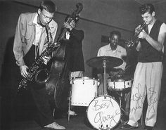 """Gerry Mulligan (Apr. 6, 1927 - 1996): jazz composer, arranger - and the man who put the baritone sax on the map as a player…  Chico Hamilton, Gerry Mulligan, Chet Baker and Bob Whitlock as the """"PianolessQuartet""""  (via dssnnc)"""