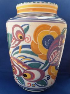 Large Carter Stabler Adams Poole Vase Pattern BX Shape 970 Mary Brown 1924-34  | eBay