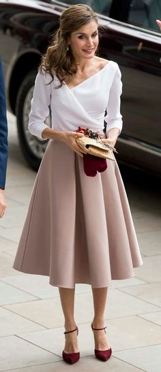 Queen Letizia - 1940's style - satin midi skirt in a chic champagne colourway by Topshop - white surplice neck blouse - Lodi burgundy suede ankle strap pumps - straw clutch by Suma Cruz