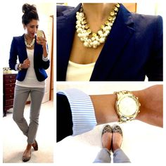 H blazer (in Navy), H chinos (in gray), Banana Republic tank, Target Mossimo Ona Flats (in leopard print), watch via NY, F21 chunky pearl necklace, Designer Inspired Jewel Necklace c/o Style Lately