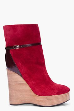 Chloe - Burgundy Suede Wedge Boots