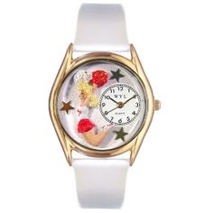 Cheerleader White Leather And Gold tone Watch #wristwatch #flip #tumbling #powertumbling #gymnastocs #cheerleading #gift