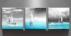 [Framed] Sailing Boat Blue Ocean Sea Canvas Art Prints Picture Wall Home Decor #JoysArt #ArtDeco