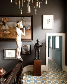 Sculptures and paintings of David Bromley in the artist's home