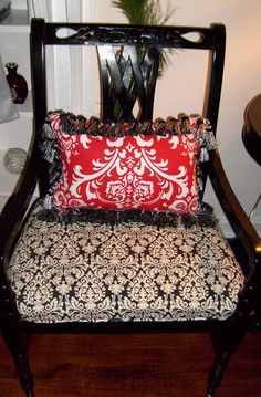 Reupholstered Damask Chair