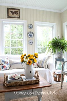 Savvy Southern Style: Sunflowers and Enamelware  adding a touch of fall