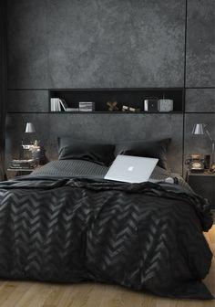 Élégance masculine et design - Jolis effets nuances au mur, niche fine, camaïeu de gris