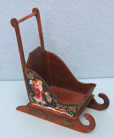 Dollhouse miniature painted wooden push sled in 1 by eclecticminis