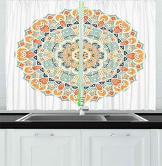 Ambesonne Mandala Kitchen Curtains Ethnic Indian Traditional Pattern Cosmos Symbol Geometric Ornamental Motif Window Drapes 2 Panels Set for Kitchen Cafe X Inches Orange Mint Apricot -- Learn more at the image web link. (This is an affiliate link). Window Drapes, Kitchen Curtains, Cosmos, Ethnic, Mandala, Outdoor Blanket, Mint, Symbols, Indian