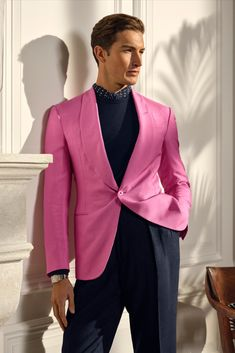 Bright, coastal-inspired hues effortlessly pair with textural fabrication. The Kent Handmade Silk Dinner Jacket is woven with an exclusive mulberry silk shantung in vibrant pink and paired with a wristwatch from The 867 Collection. #RalphLauren #RLPurpleLabel Dinner Jacket, Linen Trousers, Sweater Shop, Mulberry Silk, Striped Linen, Sport Casual, Male Fashion, Office Outfits, Formal Wear
