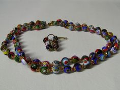 Vintage Millefiori Venetian Murano Art Glass Bead Necklace Earrings Set, Italy  | Jewelry & Watches, Vintage & Antique Jewelry, Costume | eBay!