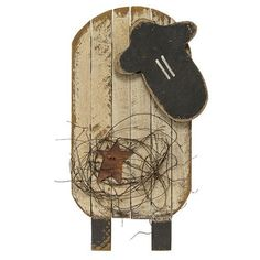 New Primitive Country Folk Art WOOD LATH SHEEP WITH STAR Wall Plaque Sign LARGE #Country