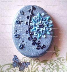 Blue Star Flower Polymer Clay Pendant/Brooch
