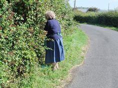 Mum blackberry picking down the lane. Taken 2 years before she died.