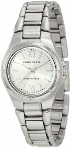 Anne Klein Women's 10/9803SVSV Silver-Tone Bracelet Watch Anne Klein. $46.75. Silver-tone sunray dial. Water-resistant up to 100 ft.. Silver-tone 27mm round case with polished silver-tone bezel. Silver-tone roman vi & xii markers; silver-tone sticks at all other hours. Adjustable link silver-tone bracelet with jewelry clasp closure