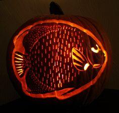 French Angelfish Pumpkin Carving | Flickr - Photo Sharing! #Pumpkin #Carving #Fish #Tropical