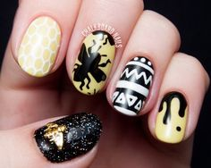 Bumblebee and Aztec printed nails.