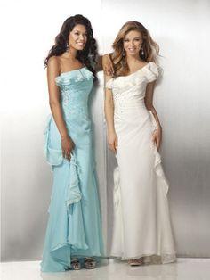 Fashion One Shoulder Beading Sleeveless Floor-length Chiffon Prom Dresses