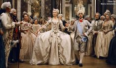 marie antoinette, kirsten dunst in an opulent three-quarter-sleeve gown with bow details and large panniers by milena canonero. Marie Antoinette Film, Costume Marie Antoinette, Kirsten Dunst Marie Antoinette, Movie Wedding Dresses, Wedding Movies, Wedding Gowns, Iconic Dresses, Vogue, 18th Century Fashion