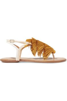 Aquazzura - Johanna Ortiz Tangier Tasseled Two-tone Suede Sandals - Mustard - IT38.5