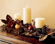 Centro de mesa con piñones para otoño 2013