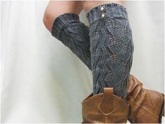 Grey crochet leg warmer with buttons - $22.90