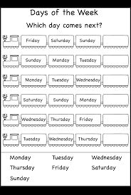 Resultado de imagen de english worksheets days of the week