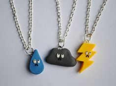 Rain, cloud,  and lightning bffs necklaces