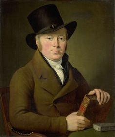 Adriaan de Lelie | Portrait of the Poet Barend Klijn Barendsz, Adriaan de Lelie, 1813 | Portret van de dichter Barend Klijn Barendsz. Bustem, zittend achter een tafel met zijn hoed op en het boek met de titel 'Vondel's Poëzy' in de handen.