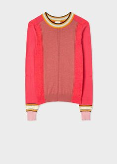 Constructed from 100% super-soft cotton, this crew neck sweater features various shades of pink in colour blocks and has contrasting orange and blue striped detailing on the collar and cuffs.