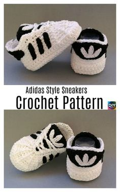 Crochet Adidas Sneakers - Free Pattern & Video Tutorial , for Women - Relaxed Once they were element of sports fashion alone, today they're a pattern and are becoming an important the main catwalks o. Crochet Converse, Booties Crochet, Crochet Slippers, Baby Knitting Patterns, Baby Patterns, Crochet Patterns, Crochet Baby Clothes, Crochet Baby Shoes, Crochet Baby Blanket Beginner