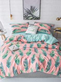 """SheIn offers Allover Leaf Print Sheet Set & more to fit your fashionable needs. Source by joliemrose Next Previous Print - * """"All of me loves all of you"""" *…Art Print Above Bed, Dream Big, Art Above the Bed,… Bedding Master Bedroom, Cozy Bedroom, Bedroom Decor, Bedroom Simple, Bedding Decor, Bedroom Wallpaper, Decor Pillows, Bedroom Themes, Bedrooms"""