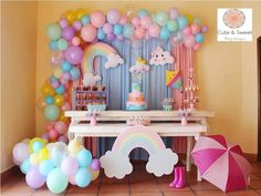 wendy Lainez's media content and analytics 2nd Birthday Party Themes, Girl Birthday Decorations, Rainbow Birthday Party, Baby Girl Birthday, Unicorn Birthday Parties, Baby Shower Decorations, Baby Shower Themes, Cloud Party, Sunshine Birthday