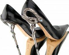 siyah deri yılan topuklu stiletto bayan ayakkabı modeli