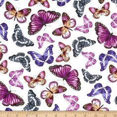 Kanvas Papillon White from @fabricdotcom  Designed by Greta Lynn of Kanvas for Benartex, this cotton print is perfect for quilting, apparel and home decor accents. Colors include purple, grey, fuchsia, pink and white.