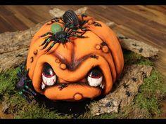 3 D Torte: Kürbis-Gesicht / How to make a 3 D Pumpkin Cake / Halloween / Motivtorte / Anleitung - YouTube