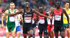 Kenya's World record holder- David Rudisha, defeated on the 800m track by Botswana's Nijel Amos.
