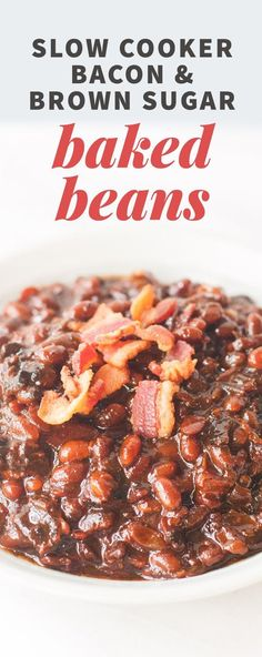 These Slow Cooker Bacon Brown Sugar Baked Beans are a cozy, decadent, and affordable way to please a crowd of fans on game day. Baked Beans Crock Pot, Slow Cooker Baked Beans, Slow Cooker Bacon, Crock Pot Slow Cooker, Crock Pot Cooking, Slow Cooker Recipes, Crockpot Recipes, Cooking Recipes, Texas Baked Beans Recipe