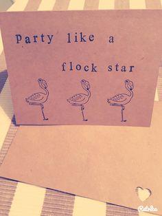 flamingo greeting card,handmade pun card, birthday card by Dorkanddorkettecards on Etsy