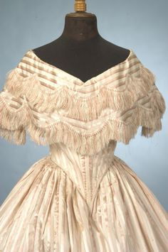 1850-55 French Ballgown - silk fringe on double layer bertha collar - Bertha Collar is a wide and deep collar that follows the neckline.