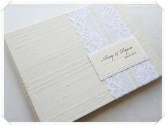 Ivory Dupinoi Silk Wedding Guest Book custom by EnvelopeGuestBooks, $42.00